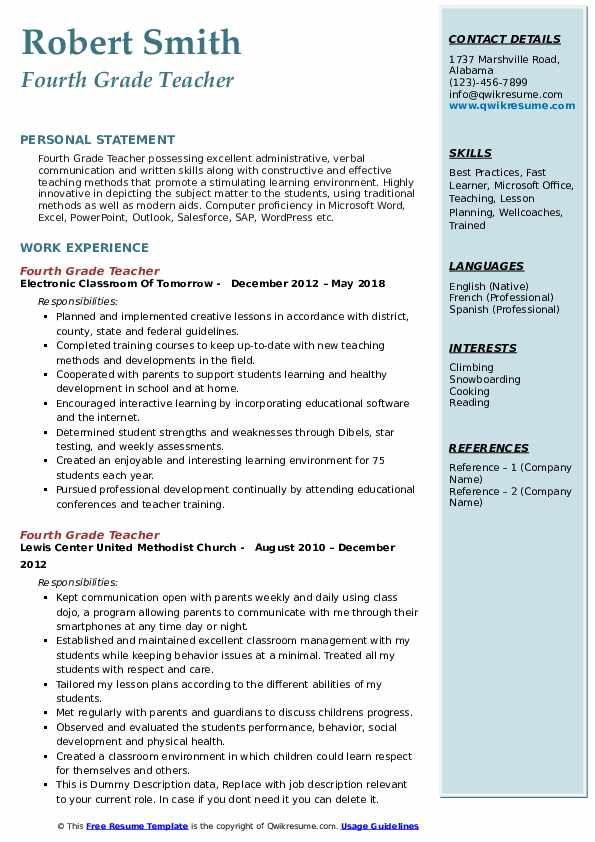 Quick Learner Resume Fourth Grade Teacher Resume Samples | Qwikresume