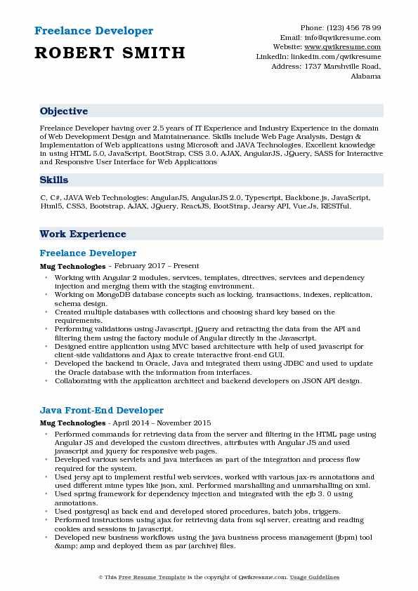 Freelance Developer Resume Samples QwikResume