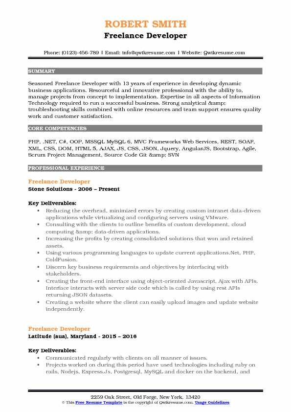 Freelance Developer Resume Samples QwikResume