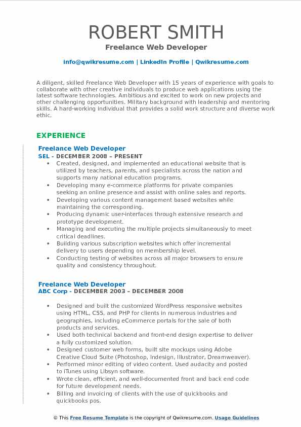 Freelance Web Developer Resume Samples QwikResume