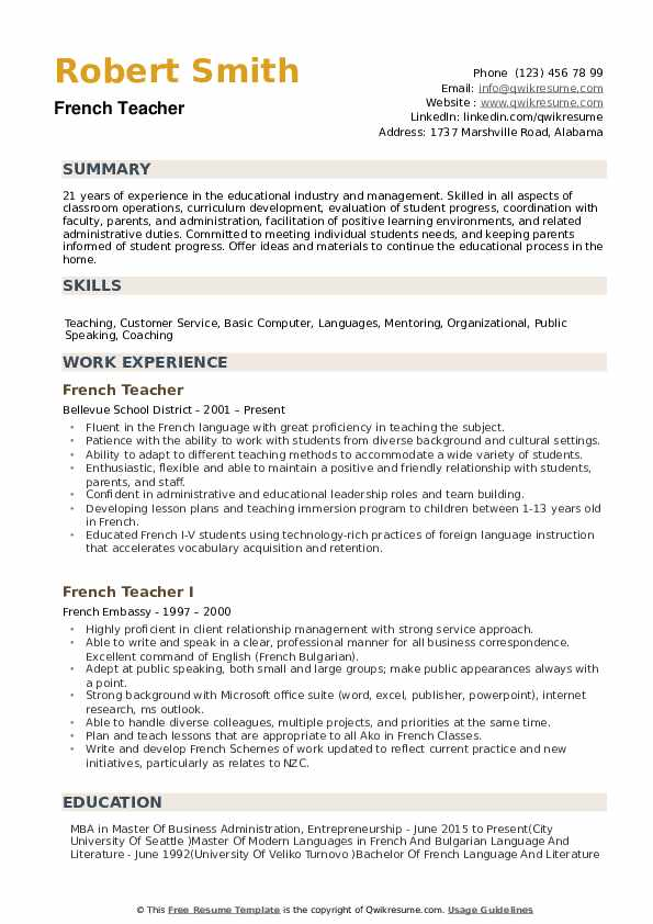 French Teacher Resumes  French Resume Examples French