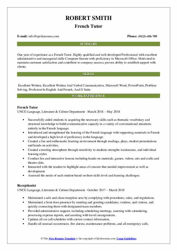 French Tutor Resume Samples QwikResume