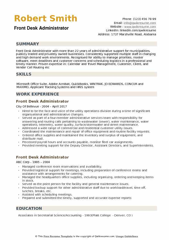 Front Desk Administrator Resume Samples QwikResume