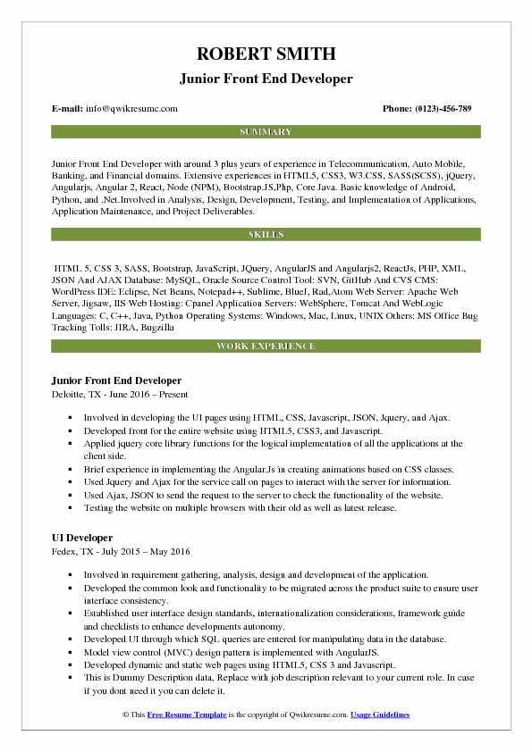 Front End Developer Resume Samples QwikResume - Java Web Sphere Developer Resume