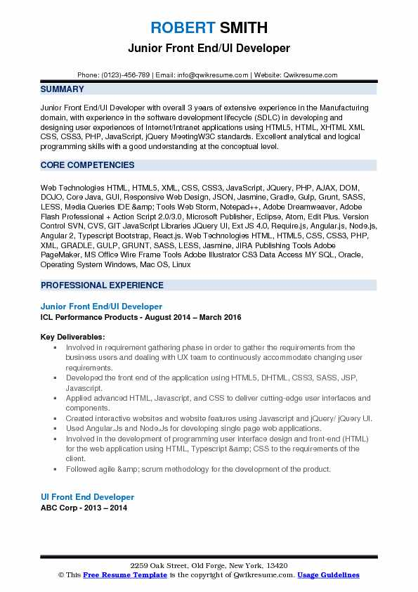 Front End UI Developer Resume Samples QwikResume