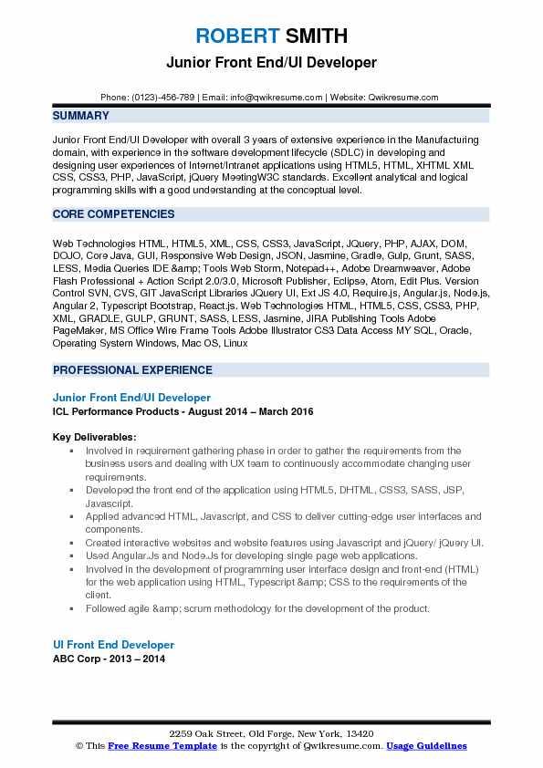 resume samples for ui developer