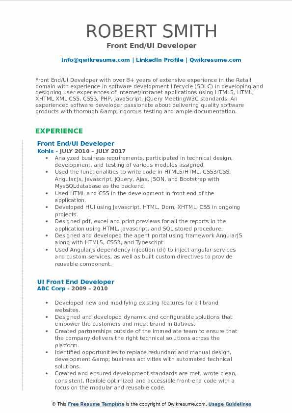 action script resume samples