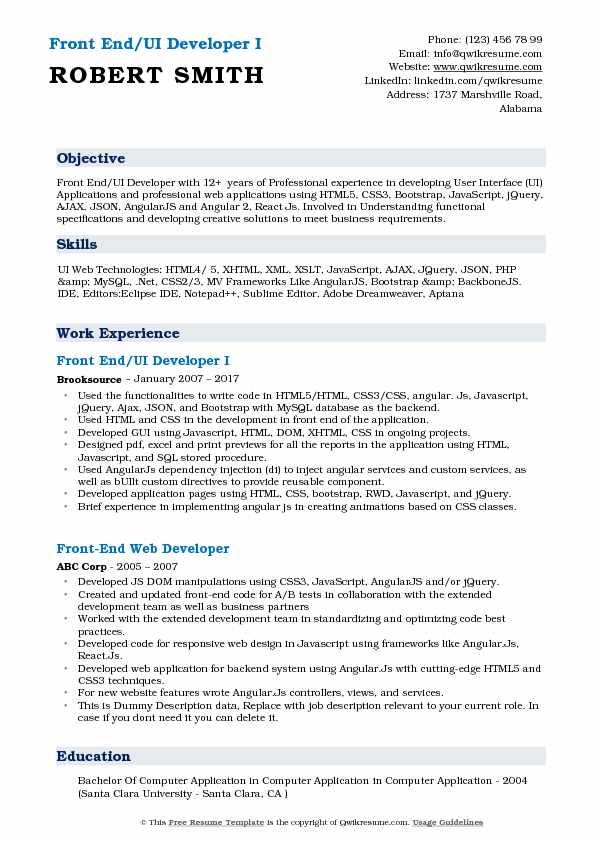 Front End UI Developer Resume Samples QwikResume