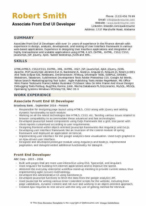 experience resume for ui developer
