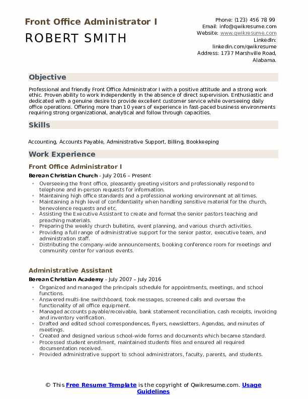 Front Office Administrator Resume Samples QwikResume