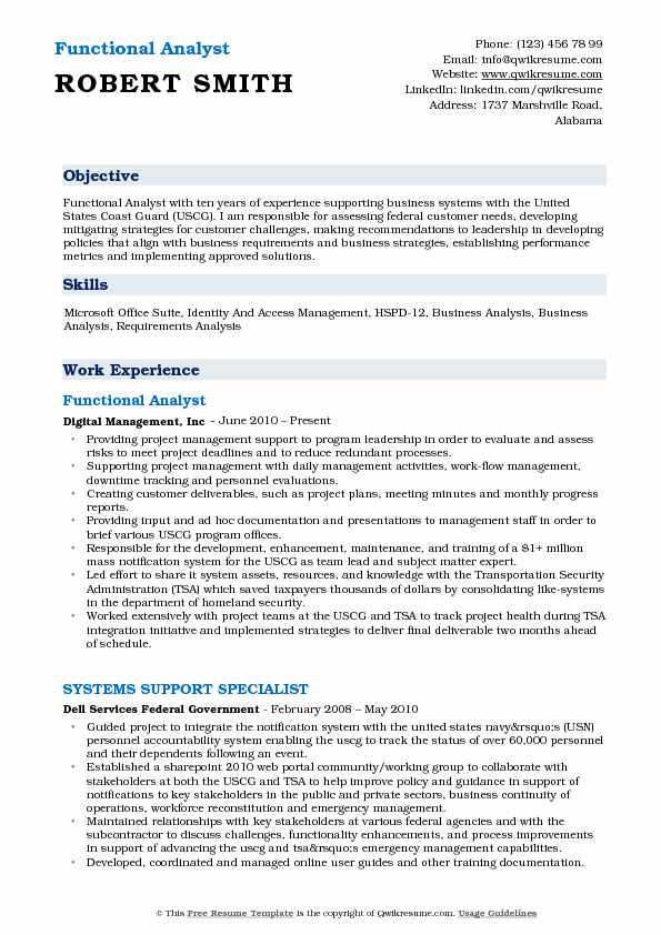 Functional Analyst Resume Samples QwikResume