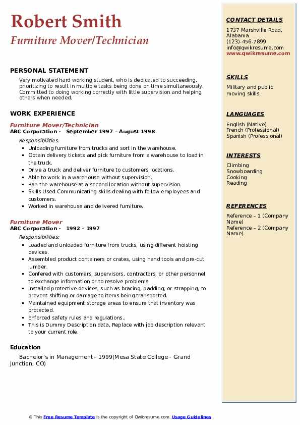 example of resume skills for a furniture mover