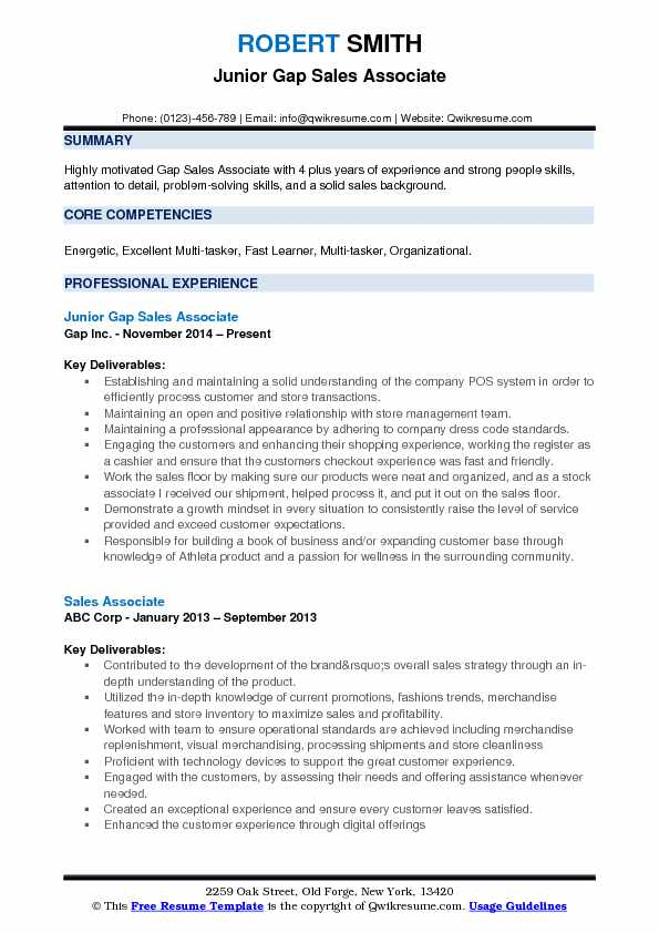 Quick Learner Resume Gap Sales Associate Resume Samples | Qwikresume
