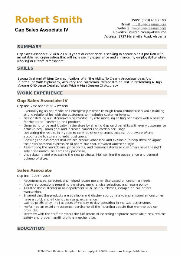 GAP Sales Associate Resume Samples QwikResume