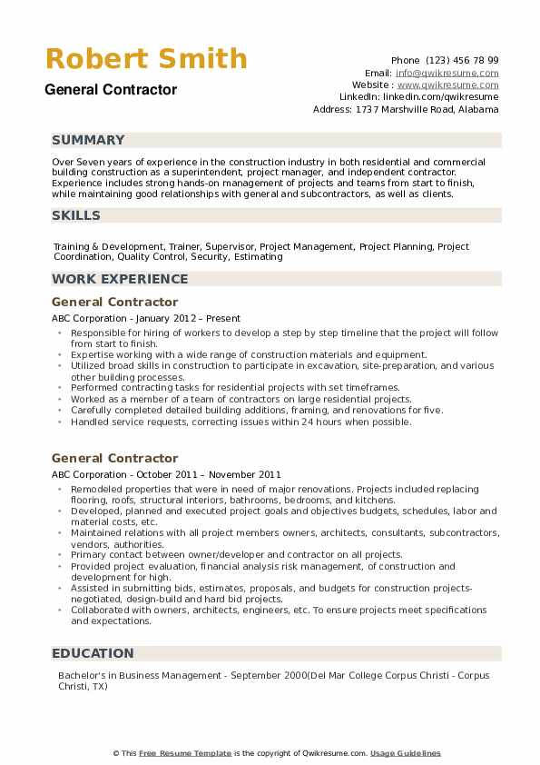 contractor resume free sample