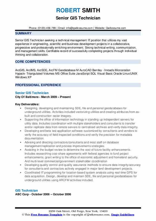 technical skills for resume gis