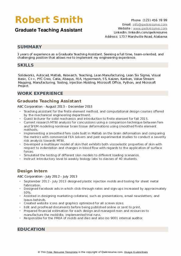 sample resume for teaching assistant graduate
