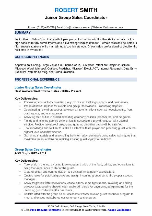 Group Sales Coordinator Resume Samples QwikResume - group resume template