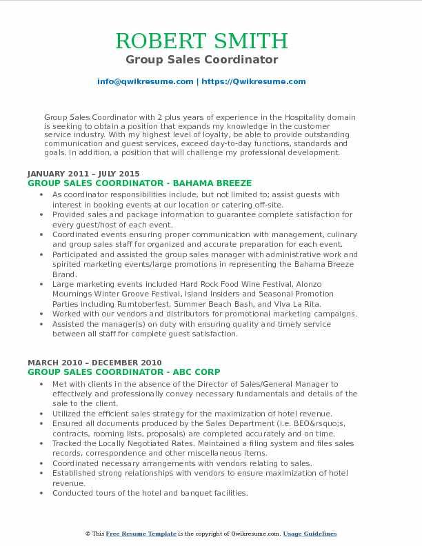 Group Sales Coordinator Resume Samples QwikResume - sales coordinator resume