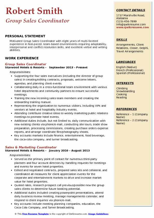 Group Sales Coordinator Resume Samples QwikResume