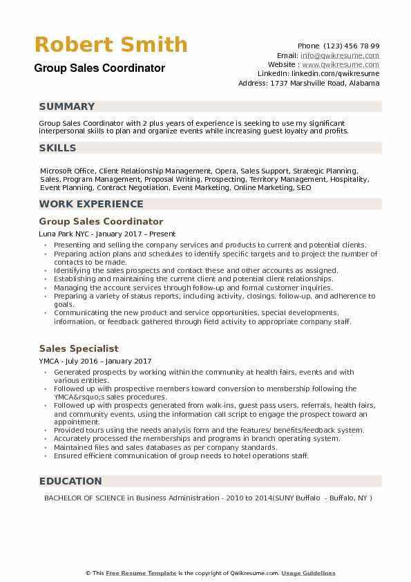 Group Sales Coordinator Resume Samples QwikResume