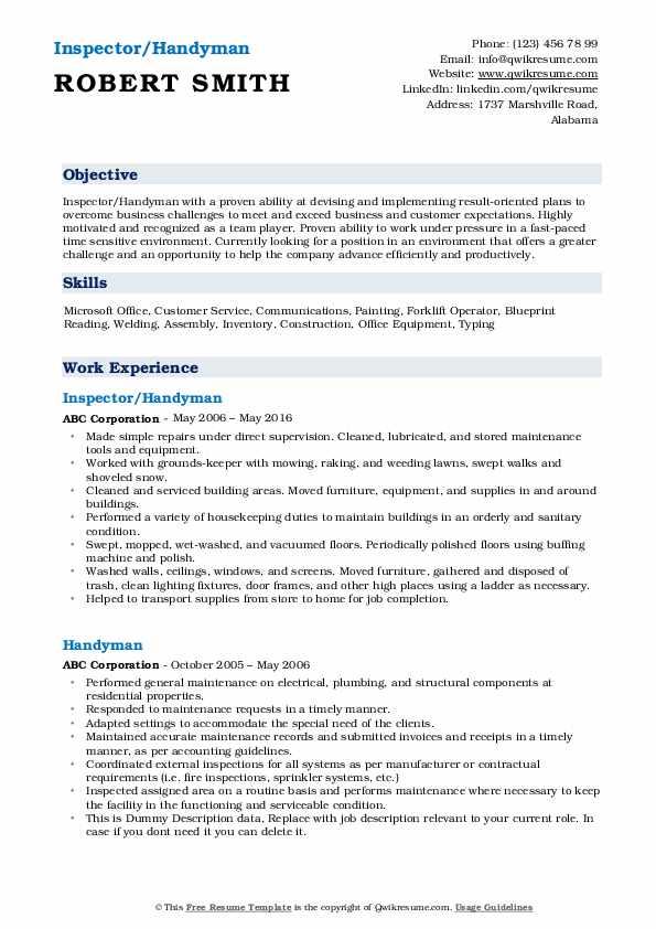 free handyman resume samples