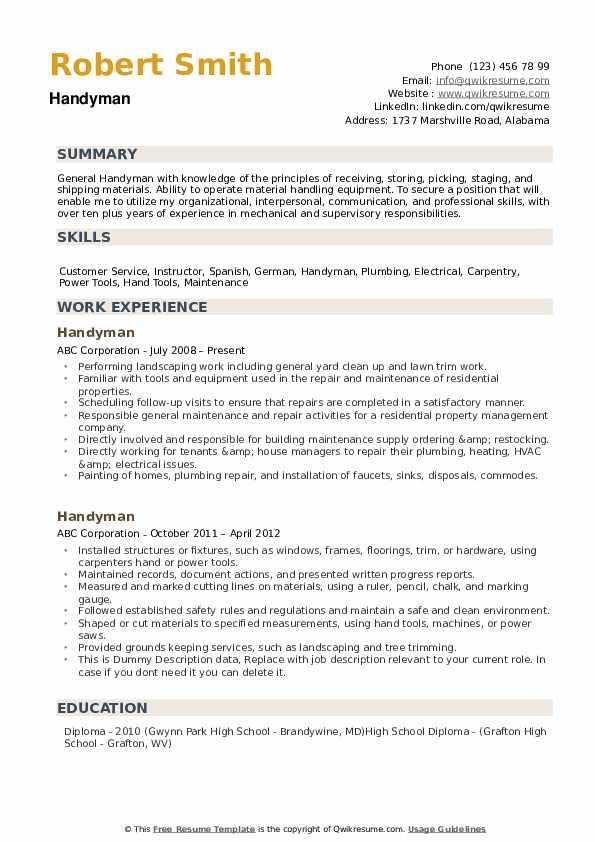 handyman service for resume sample