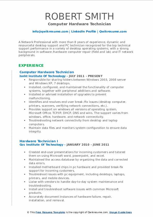 Hardware Technician Resume Samples QwikResume