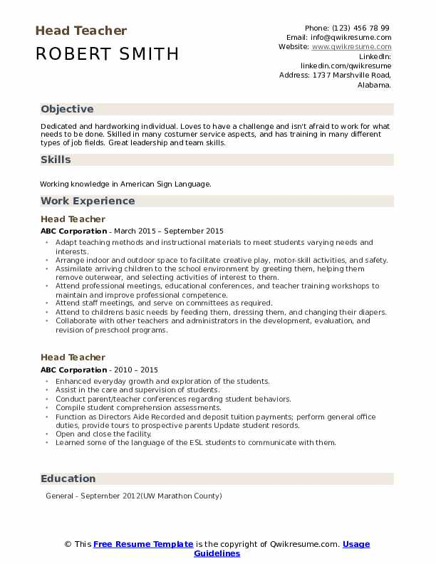 head teacher resume sample