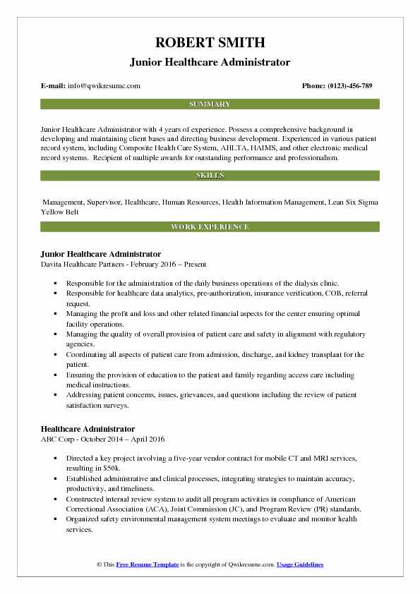 sample resume healthcare administrator with 10 years experience