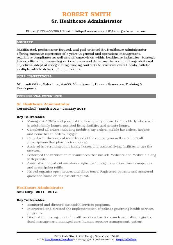 Healthcare Administrator Resume Samples QwikResume