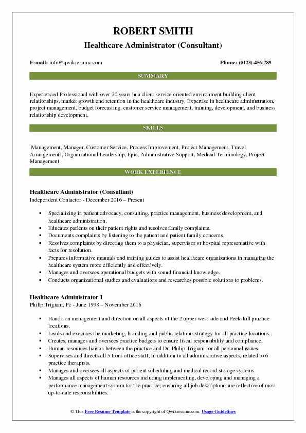 Healthcare Administrator Resume Samples QwikResume
