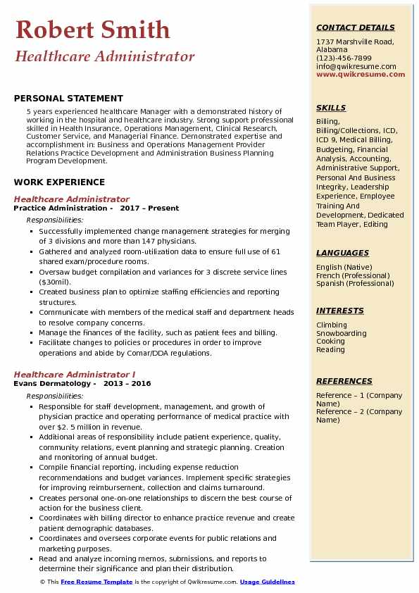 medical billing administrator sample resume