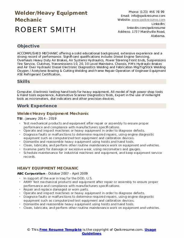 equipment mechanic resume samples