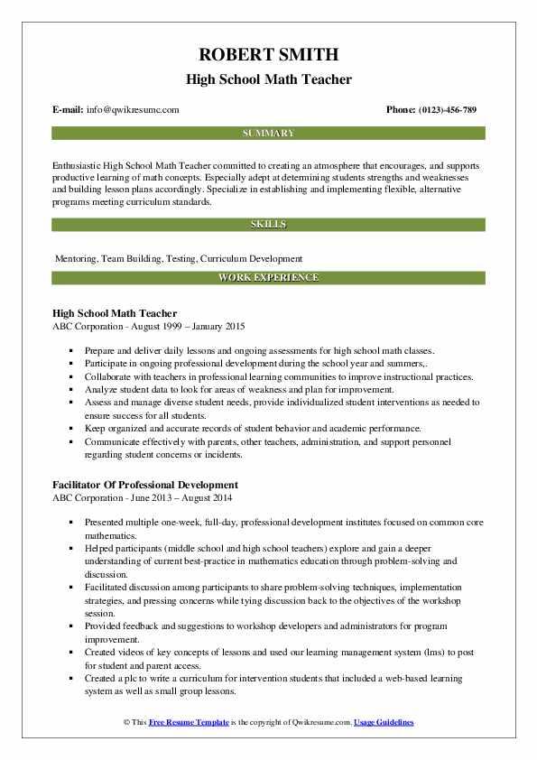 examples of a stem teacher resume