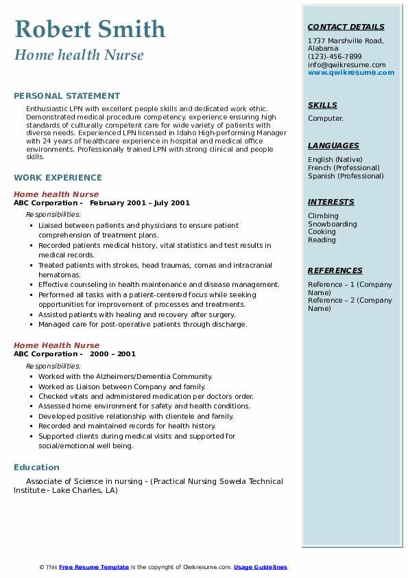 example resume for home health nurse for alzheimers
