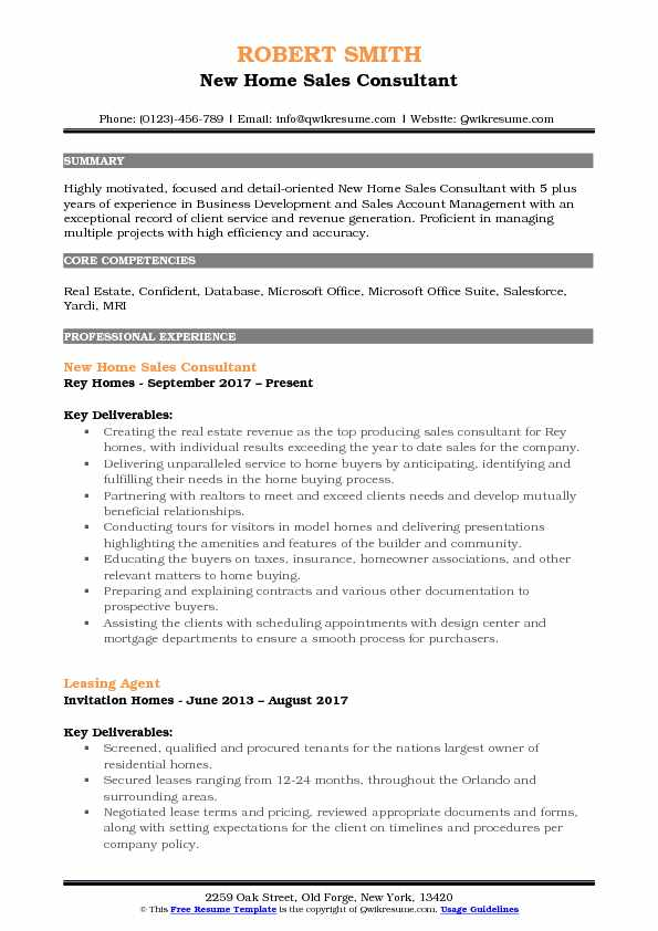 New Home Sales Resume 1 route sales representative resume templates