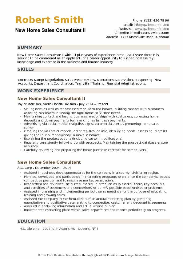 New Home Sales Consultant Resume Samples QwikResume