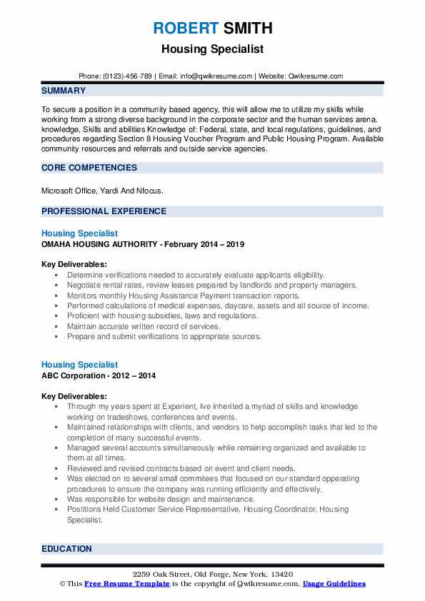 resume example for director of housing choice voucher program