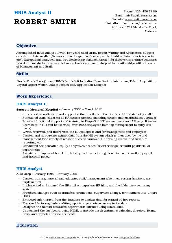 hris resume templates
