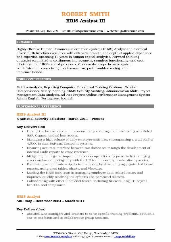HRIS Analyst Resume Samples QwikResume