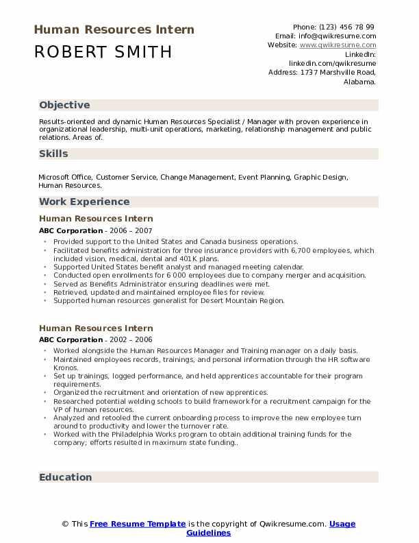 resume for hr internship sample