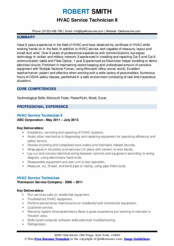 example resume for hvac technician
