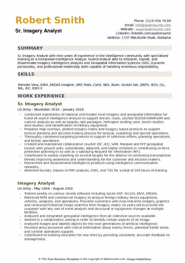 Imagery Analyst Resume Samples QwikResume