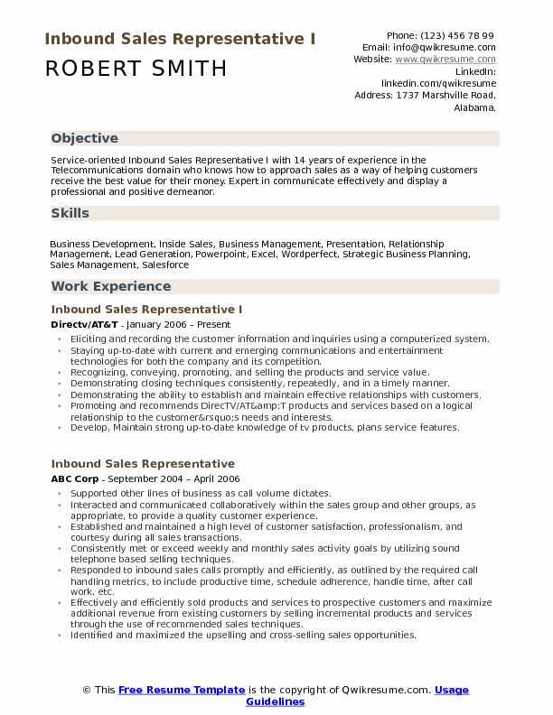 Inbound Sales Representative Resume Samples QwikResume