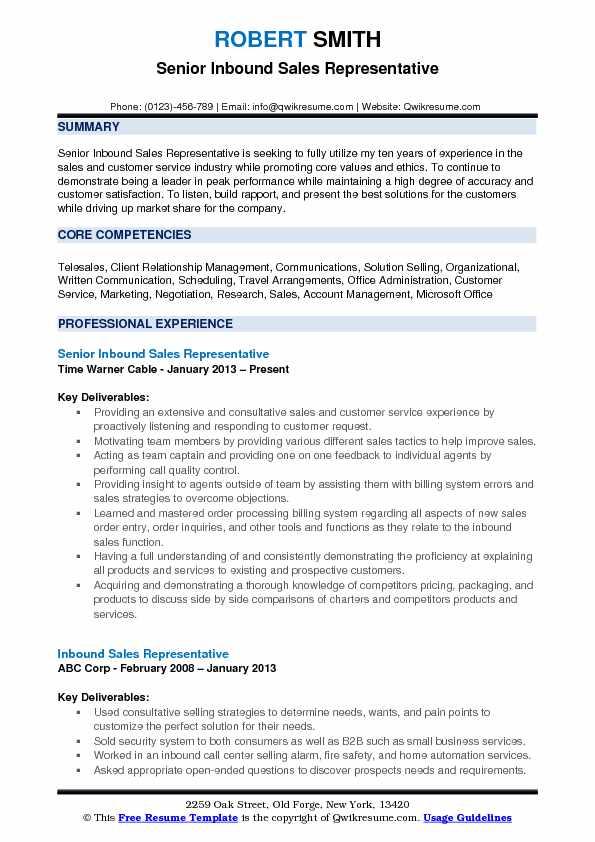 resume for customer service sales representative