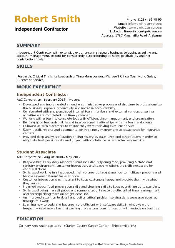example of contractor resume