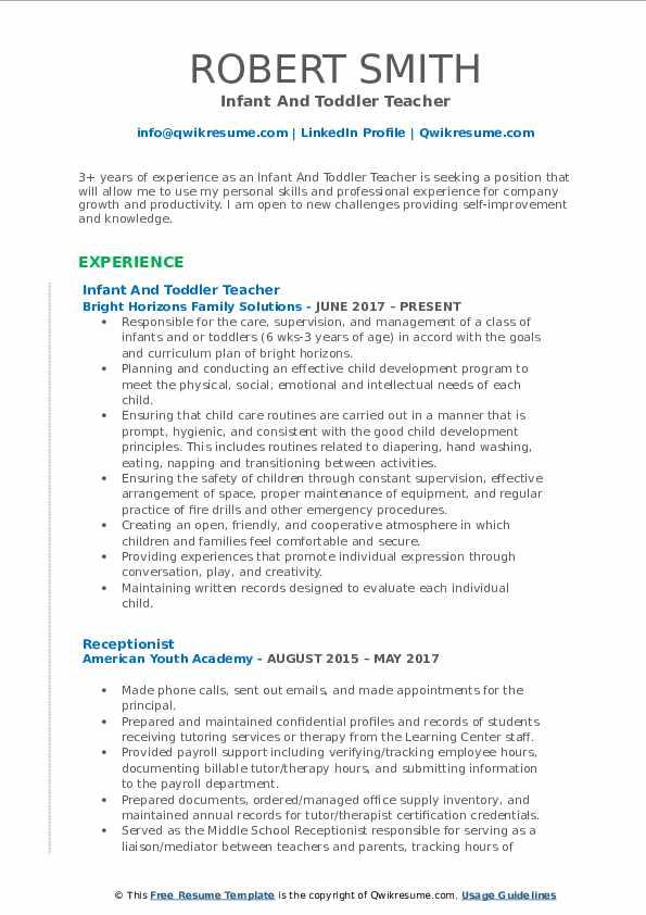 resume of experience teacher
