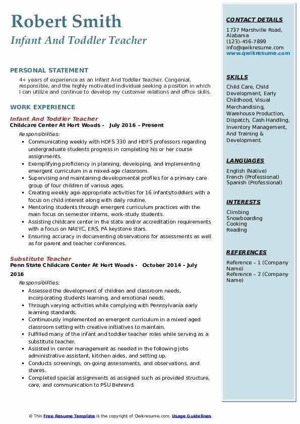 resume description for teacher