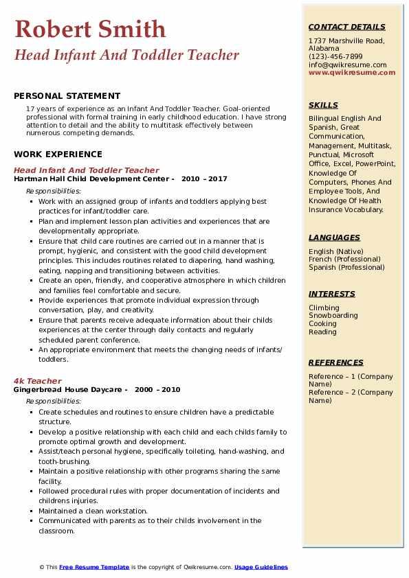 toddler teacher resume